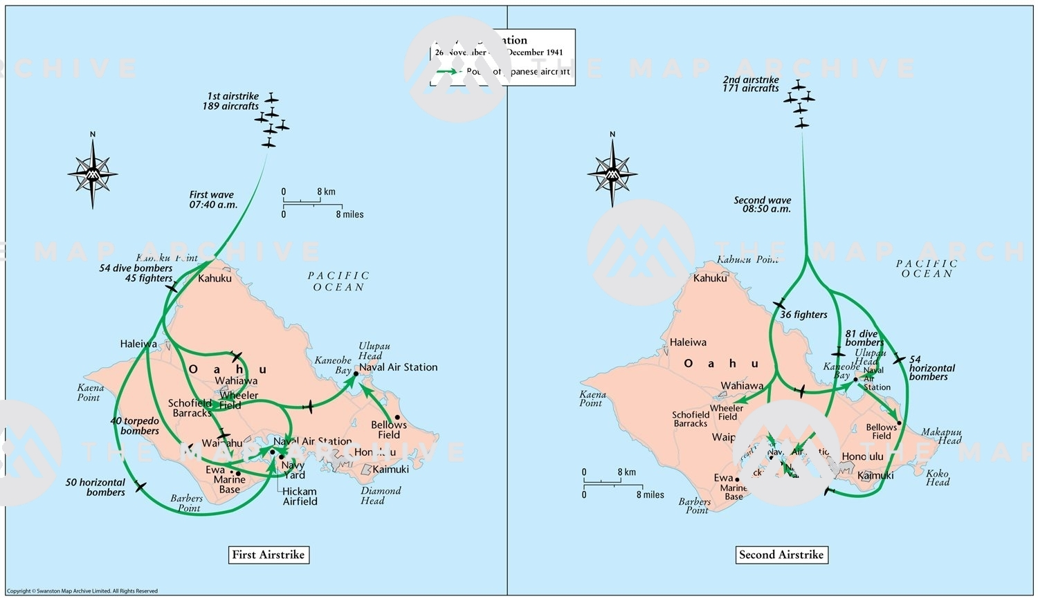Pearl Harbor On Us Map Pearl Harbor 7 December 1941   The Map Archive